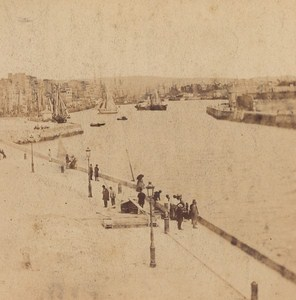 Le Havre Harbor Entrance France Old Stereo Photo Andrieu 1870