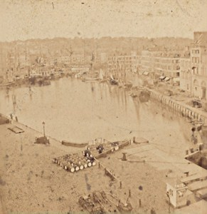 Le Havre Old Harbour Basin Coast Ingouville France Old Stereo Photo Andrieu 1870