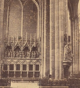 Amiens Cathedral Transept Sculptur France Old Stereo Photo Valecke 1865