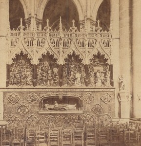 Amiens Cathedrale Saint Firmin Tomb France Old Stereo Photo Queval 1870