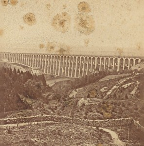 Panorama Chaumont Viaduc Old Stereo Photo Scherer 1870