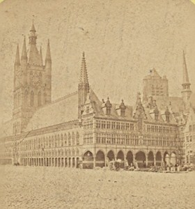 Ypres Halls Belgium Old Stereo Photo Leon & Levy 1880