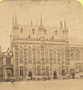 Bruges City Hall Belgium Old Stereo Photo Leon & Levy 1880