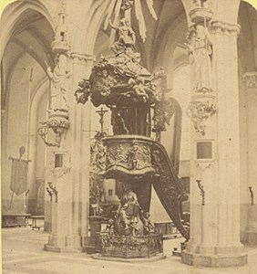 Bruges Pulpit of the Cathedral Belgium Old Stereo Photo Leon & Levy 1880