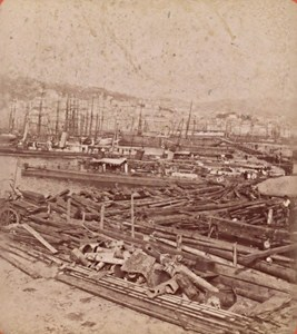 Genova Harbour General View Italy Old Stereo Photo Brogi 1880