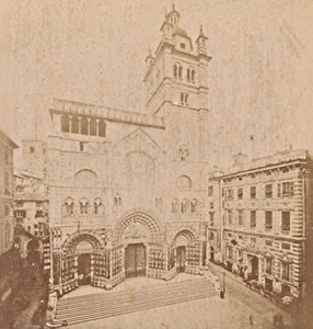 Genova Cathedral San Lorenzo Italy Old Stereo Photo Noack 1880
