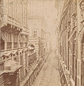 Genova Via Nuova Italy Old Stereo Photo Noack 1880