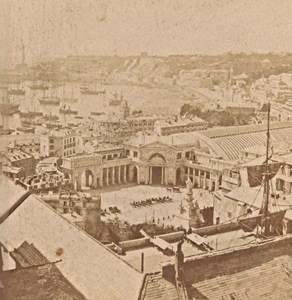 Genova General View Panorama Italy Old Stereo Photo Noack 1880