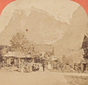 Switzerland Grindewald & Wetterhorn Old Photo Stereo Garcin 1880
