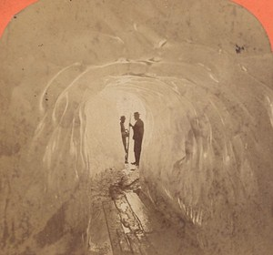 Switzerland Grindewald Ice Cave Old Photo Stereo Garcin 1880
