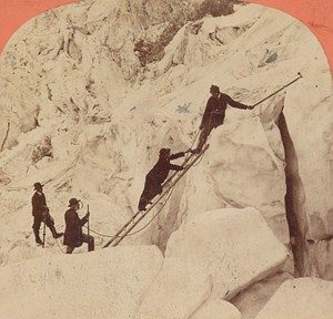 Switzerland Alpinism at Grands Mulets Old Photo Stereo Garcin 1880