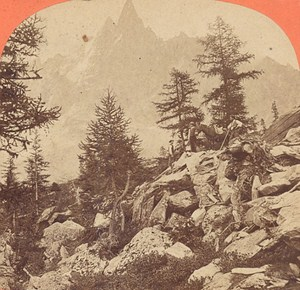 Switzerland Excursion to the Aiguille du Dru Old Photo Stereo Garcin 1880