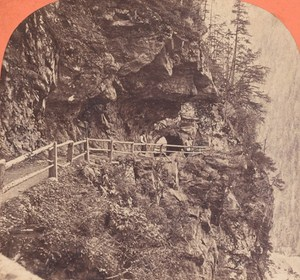 Switzerland Chamonix Road Old Photo Stereo Garcin 1880