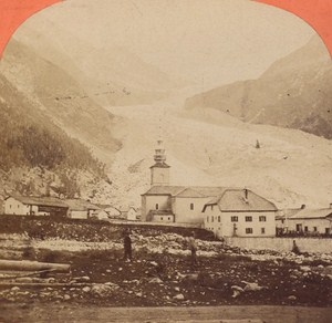 France Village & Glacier of Argentiere Old Photo Stereo Garcin 1880