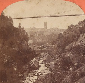 Switzerland Friburg Suspension Bridge Old Photo Stereo Garcin 1880