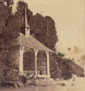 Switzerland Guillaume Tell Chapel Old Photo Stereo Charnaux 1860