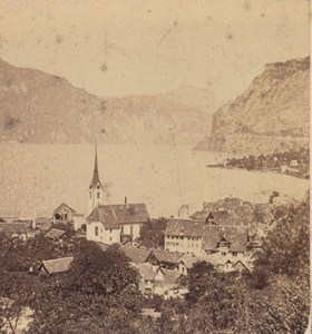 Switzerland Fluelen Panorama Old Photo Stereo Charnaux 1860