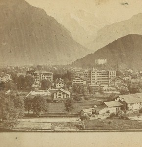Switzerland Interlaken & the Jungfrau Old Photo Stereo Charnaux 1875
