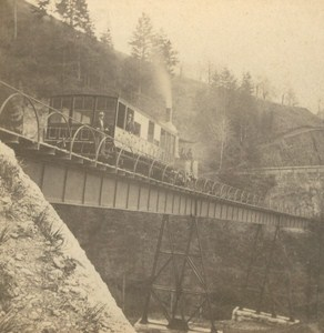 Switzerland Rigi Railway Old Photo Stereo Charnaux 1875