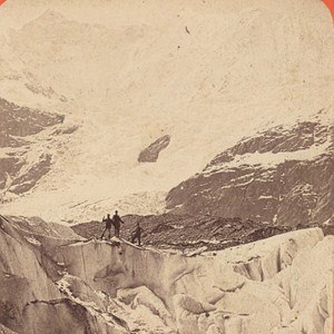 Switzerland Grindewald Sea Ice Old Photo Stereo Charnaux 1875