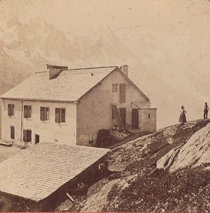 Switzerland Mont Blanc view from the Flegere Old Photo Stereo Charnaux 1875