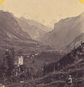 Switzerland Interlaken Ruins Castle Unspunnen Old Photo Stereo Braun 1870