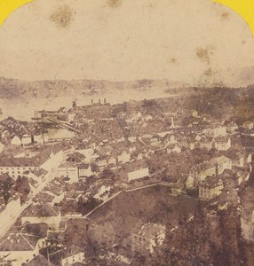 Switzerland Lucerne Panorama Old Photo Stereo Braun 1870