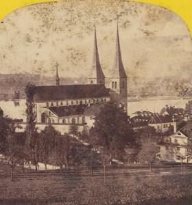 Switzerland Lucerne Church Mount Pilatus Old Photo Stereo Braun 1870