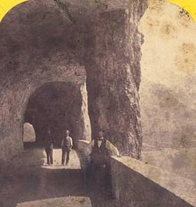 Switzerland Lake Lucerne Axenstrasse Tunnel Old Photo Stereo Braun 1870