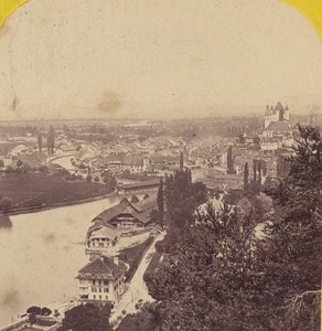 Switzerland Thoune taken from Belle Vue Old Photo Stereo Braun 1870