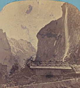 Switzerland Lauterbrunnen Valley Staubach Old Photo Stereo Braun 1870