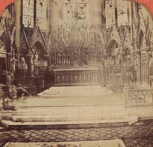 France Rouen Bonsecours Church Interior Old Photo Stereoview Tissue 1870