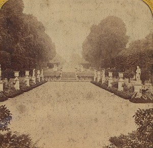 France St Cloud Imperial Castle Gardens Old Photo Stereoview Tissue 1870