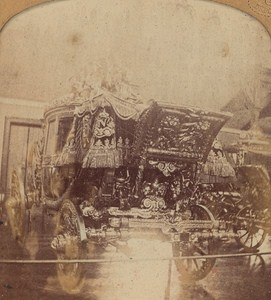 France Paris Trianon palace Horse Car Old Photo Stereoview Tissue GAF 1865