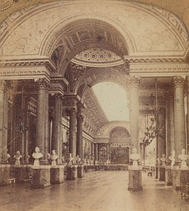 France Versailles Castle Hall of Battles Old Photo Stereoview Tissue GAF 1865