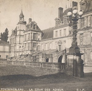 France Fontainebleau Castle Cour des Adieux Paris Old Stereo Photo SIP 1900