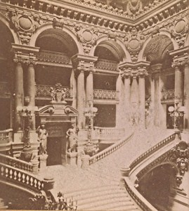 Paris Opera Large Scale France Old Stereo Photo 1890