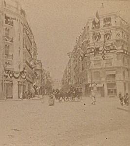 Algiers Rue d'Isly Flag Algeria Old Stereo Photo 1890