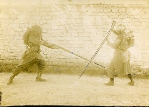Military Training Bayonet to Rifle Fight France Old Snapshot 1900