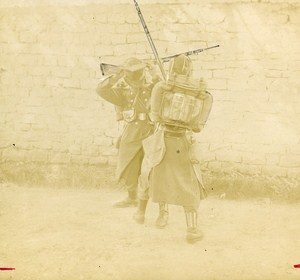 Military Training Bayonet to Rifle Fight France Old Snapshot ca 1900