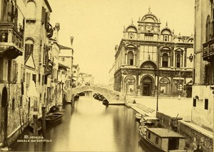 Venezia Canale dell Ospitale Italy Old Albumen Photo ca 1880