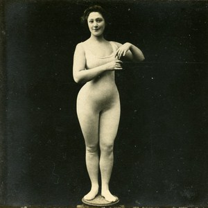 Woman Artistic Study Semi Nude Risque Poses Plastiques Old Photo Stereo SIP 1900