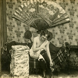 Woman Artistic Study Half Nude Risque Old Photo Stereo SIP 1900