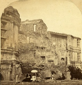 Grignan Castle Man Looking Stereo France Old Stereo Photo Furne & Tournier 1858