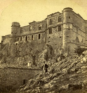 Le Barroux Castle Vaucluse France Old Stereo Photo Furne & Tournier 1858
