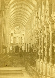 Reims St Remy Cathedral Interior France Old CDV Photo Valecke 1870
