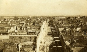 Wall Panorama Pompeii Italy Old CDV Photo Sommer 1870