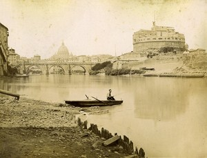 Fisherman on Tiber River Roma Italy Old Photo Brogi 1880