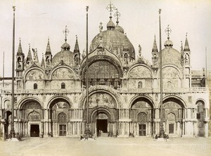 San Marco Cathedral Facade Venice Italy Old Photo Brusa ca 1880