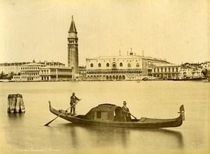 Panorama & Gondola Venice Italy Old Photo Brusa 1880